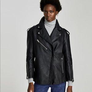 Zara Oversized Black Biker Jacket w/ Fleece Lining